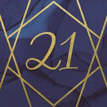 Navy Blue & Gold Geode 21st Birthday Party Napkin | Serviette