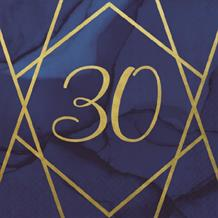 Navy Blue & Gold Geode 30th Birthday Party Napkin | Serviette