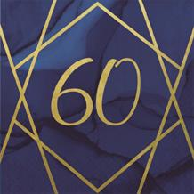 Navy Blue & Gold Geode 60th Birthday Party Napkin | Serviette