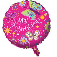 Butterfly Sparkle Happy Birthday Party Foil | Helium Balloon