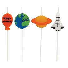 Space | Planet | Rocket Pick Party Cake Candles | Decorations