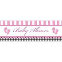 Sweet Baby Feet Pink Giant Party Banner | Decoration