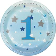 Blue Twinkle Star 1st Birthday Party Cake Plates