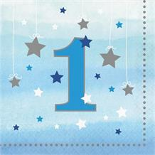 Blue Twinkle Star 1st Birthday Party Napkins | Serviettes