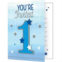 Blue Twinkle Star 1st Birthday Party Invitations | Invites