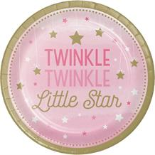 Pink Twinkle Star 23cm Party Plates