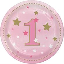 Pink Twinkle Star 1st Birthday Party Cake Plates