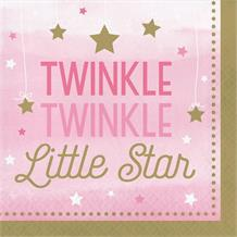 Pink Twinkle Star Party Napkins | Serviettes