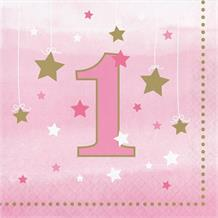 Pink Twinkle Star 1st Birthday Party Napkins | Serviettes