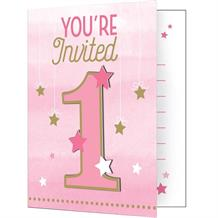 Pink Twinkle Star 1st Birthday Party Invitations | Invites