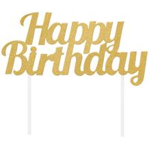 Gold Glittering Happy Birthday Cake Topper 9 x 18cm