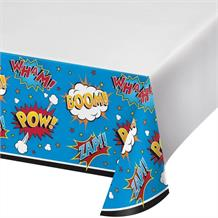 Superhero Slogans Cartoon Party Tablecover | Tablecloth