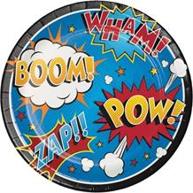 Superhero Slogans Cartoon 23cm Party Plates