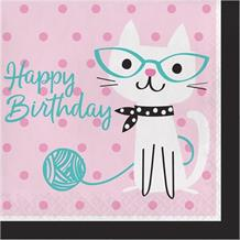 Purrfect Cat Party Happy Birthday Napkins | Serviettes