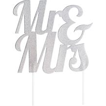Glitter Mr & Mrs Cake Topper Silver