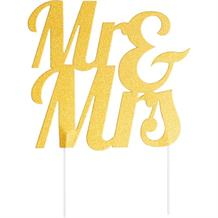 Glitter Mr & Mrs Cake Topper Gold