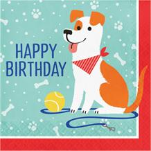 Dog Party Happy Birthday Napkins | Serviettes