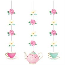 Floral Tea Party Hanging Cutouts Decorations