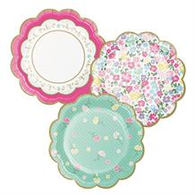 Floral Tea Party Scalloped Cake Plates