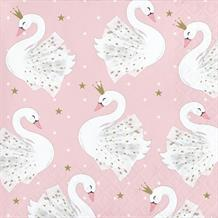 Stylish Swan Party Beverage Napkins | Serviettes