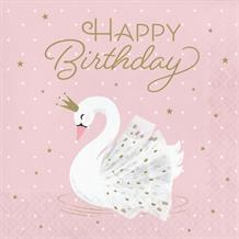 Stylish Swan Happy Birthday Party Napkins | Serviettes