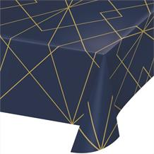 Navy Blue & Gold Geode Plastic Party Tablecover | Tablecloth
