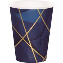 Navy Blue & Gold Geode Party Paper Cups