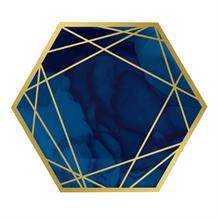 Navy Blue & Gold Geode 25cm Party Paper Plates