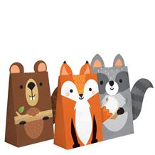 Wild Woodland Animals Party Favour Boxes with Ribbons
