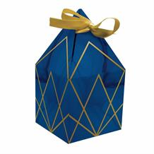 Navy Blue & Gold Geode Party Favour Boxes with Ribbons