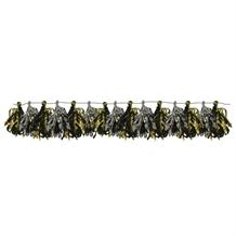 Black, Silver and Gold Foil Tassle Garland Banner | Decoration