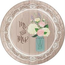 Rustic Mr and Mrs Wedding Party Plates