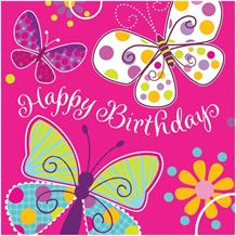 Butterfly Sparkle Party Happy Birthday Napkins | Serviettes