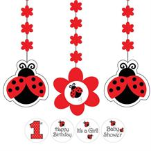 Ladybird Personalisable Party Hanging Swirl Decorations