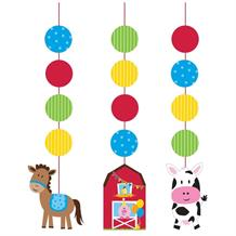Farmhouse Fun Party Hanging Swirl Decorations