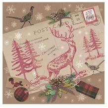 Vintage Postcard with Stag Christmas Party Napkins | Serviettes