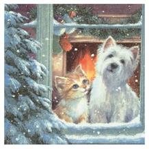 Westie & Kitten Looking out of Window Christmas Party Napkins | Serviettes