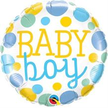 "Baby Boy Blue Dots Baby Shower 18"" Foil 