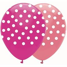 Pink Polka Dot Mix Party Latex Balloons