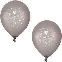 Diamond Wedding Anniversary Silver Party Latex Balloons