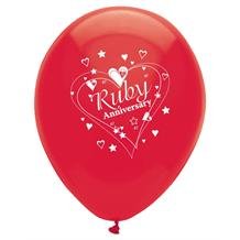 Ruby Wedding 40th Anniversary Party Latex Balloons