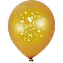 Golden Wedding 50th Anniversary Party Latex Balloons