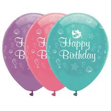 Mermaid Shine Happy Birthday Party Latex Balloons