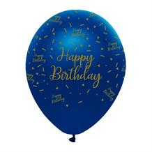 "Navy Blue & Gold Geode Happy Birthday 12"" Latex Balloon"
