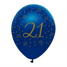 "Navy Blue & Gold Geode 21st Birthday 12"" Latex Balloon"