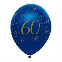 "Navy Blue & Gold Geode 60th Birthday 12"" Latex Balloon"