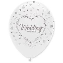 "Wedding Wishes Heart 12"" Helium Quality Latex Balloons"