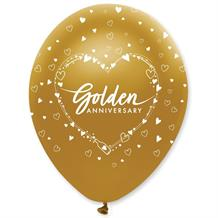 "Golden 50th Wedding Anniversary Heart 12"" Helium Quality Latex Balloons"
