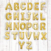 "Gold 16"" A-Z Letter Shaped Foil Balloon - Air Fill"