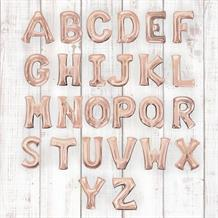 "Rose Gold 16"" A-Z Letter Shaped Foil Balloon - Air Fill"